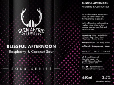 Glen Affric – Blissful Afternoon – Raspberry & Coconut Sour – PRE-ORDER